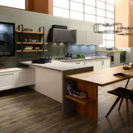 cucina moderna con penisola grigia