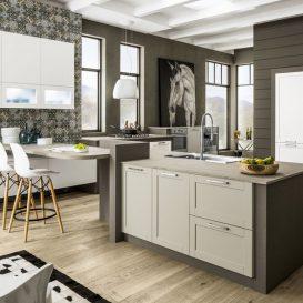 cucina moderna con penisola bianca